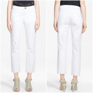 Current/ Elliott The Cropped Straight White Jeans